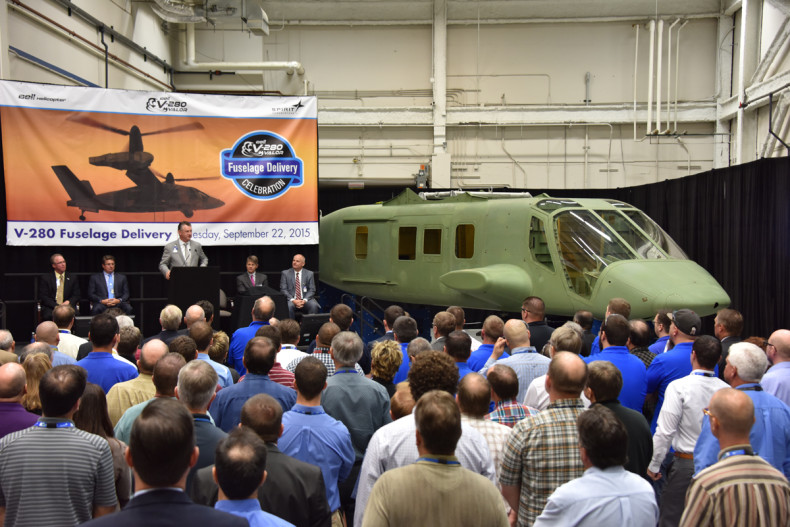 Completion of the first fuselage for Bell's future V-280 Valor tiltrotor was marked by a short ceremony at Spirit AeroSystems' plant in Wichita, Kansas (Spirit photo)