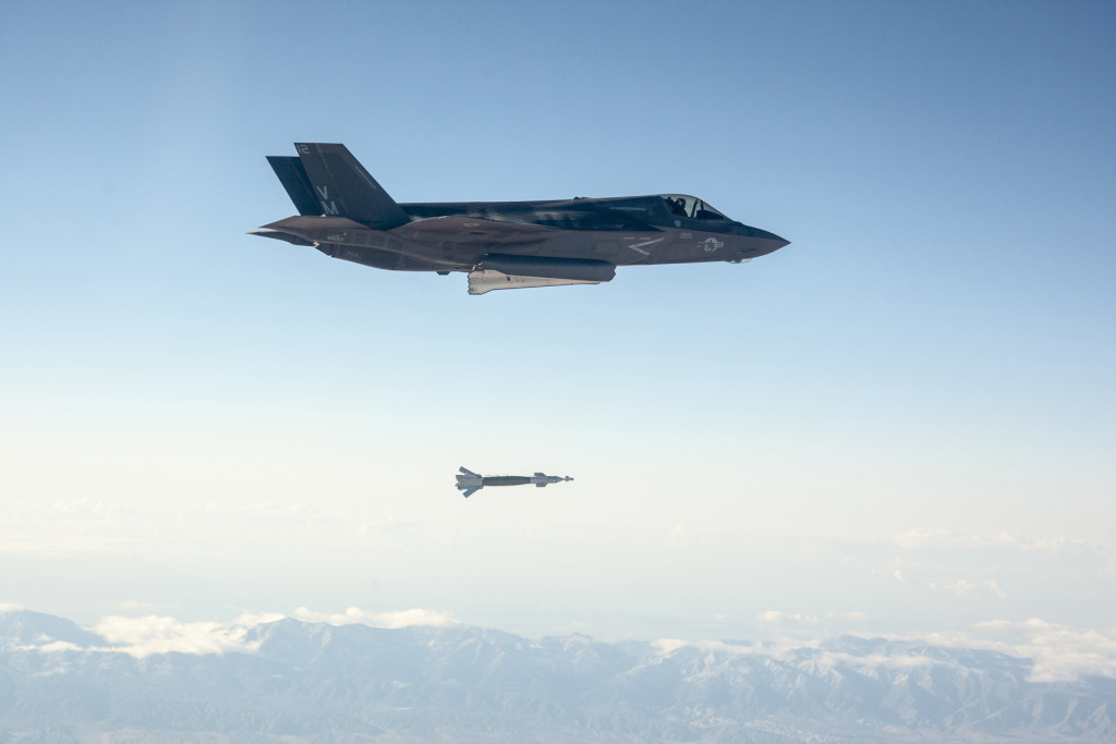 An F-35 Lightning II employed a Guided Bomb Unit-12 (GBU-12) Paveway II laser-guided weapon against a fixed ground tank test target October 29. The F-35's Electro-Optical Targeting System enabled the pilot to identify, track, designate and deliver the GBU-12 on target (Photo by Lockheed Martin)