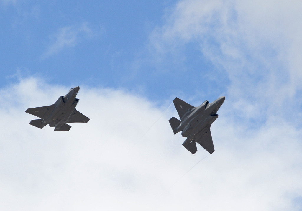 The first two operational F-35A Lightning II aircraft arrive at Hill Air Force Base, Utah, September 2, 2015. The jets were piloted by Colonel David Lyons, 388th Fighter Wing commander, and Lieutenant Colonel Yosef Morris, 34th Fighter Squadron director of operations. Hill will receive up to 70 additional combat-coded F-35s on a staggered basis through 2019. The jets will be flown and maintained by Hill Airmen assigned to the active-duty 388th Fighter Wing and its Reserve component 419th Fighter Wing (U.S. Air Force photo/Alex R. Lloyd)