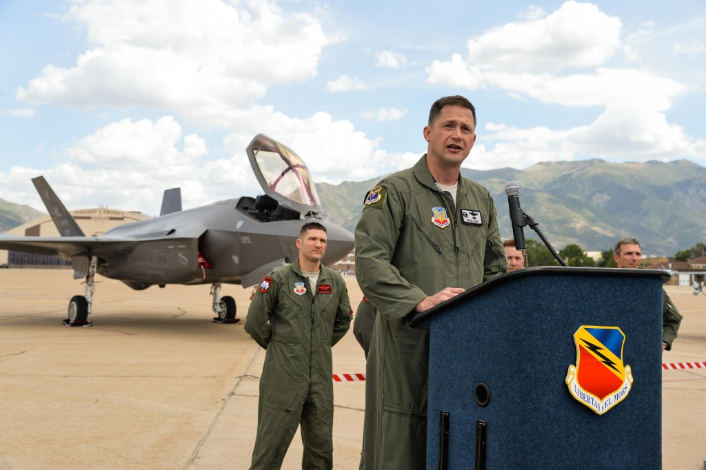 Colonel David Lyons, 388th Fighter Wing commander, speaks to Airmen, civic leaders and media after delivering an operational F-35A Lightning II aircraft to Hill Air Force Base, Utah, September 2, 2015. Lyons, along with Lieutenant Colonel Yosef Morris, 34th Fighter Squadron director of operations, delivered the first two jets, known as AF-77 and AF-78, at approximately 1 p.m. MDT after a 90-minute flight from the F-35 production facility in Fort Worth, Texas (U.S. Air Force photo/Ron Bradshaw)