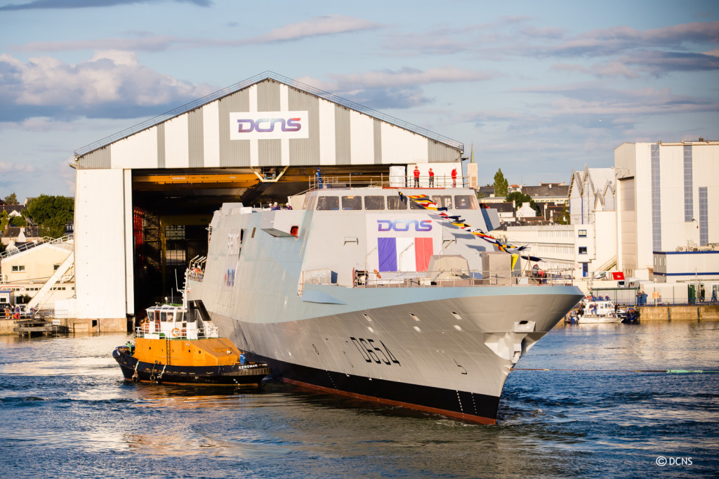 Auvergne, seen here as it floats out of the building hall in Lorient, is the sixth FREMM frigate built by DCNS, which is building another three for the French navy
