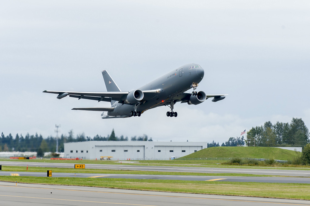 The Boeing-built KC-46A Pegasus tanker takes off on its first flight, from Paine Field, Everett, Washington to Boeing Field, Seattle. The KC-46A is a multirole tanker Boeing is building for the U.S. Air Force that can refuel all allied and coalition military aircraft compatible with international aerial refueling procedures and can carry passengers, cargo and patients (Boeing photo)