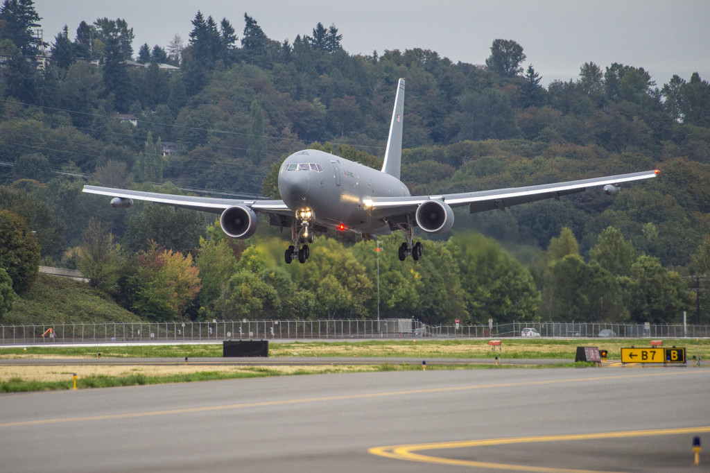 The Boeing-built KC-46A Pegasus tanker lands after its first flight, from Paine Field, Everett, Washington to Boeing Field, Seattle. September 25, 2015 (Boeing photo)