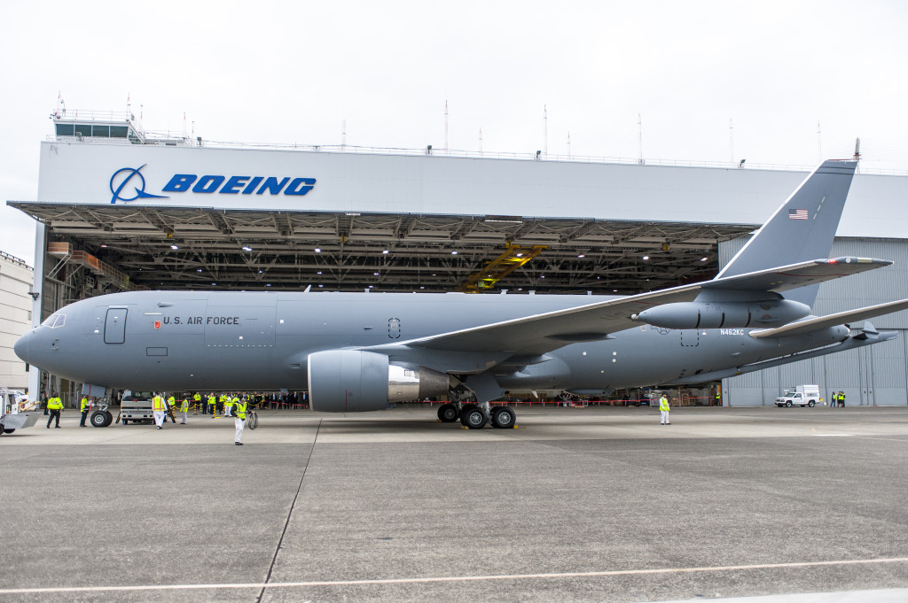 The Boeing-built KC-46A Pegasus tanker at Boeing Field, Seattle, after its first flight. September 25, 2015 (Boeing photo)