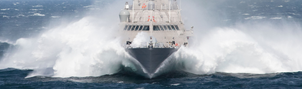 USS Milwaukee (LCS-5) makes waves during its acceptance trial. The acceptance trial is the last significant milestone before delivery of the ship to the U.S. Navy, which is planned for October (Photo by U.S. Navy)