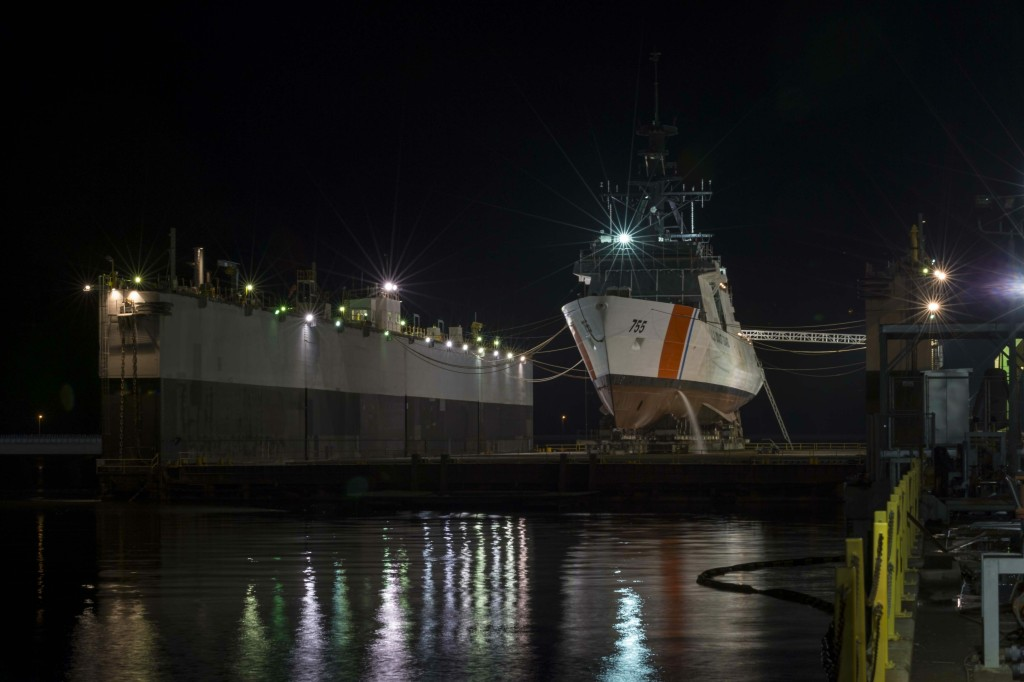 The National Security Cutter Munro (WMSL-755) sits in the floating dry dock at Ingalls Shipbuilding prior to its launch on Saturday (Photo by Lance Davis/HII)