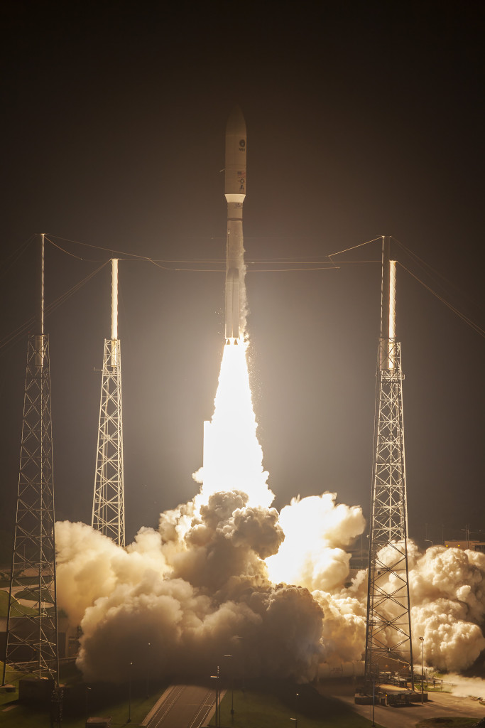 An Atlas V rocket carrying the MUOS-4 mission lifts off from Space Launch Complex 41