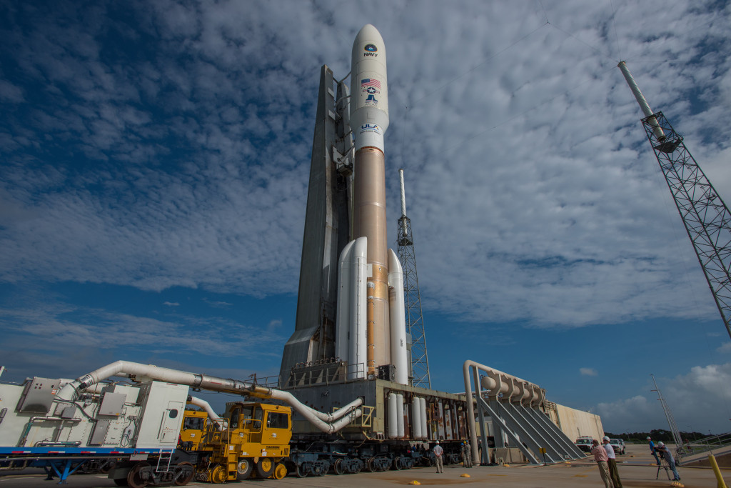An Atlas V rocket with the Navy's fourth Mobile User Objective System (MUOS-4)