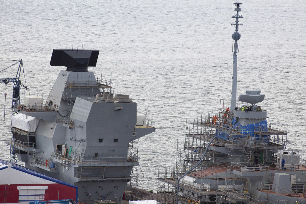 Installation of Artisan Radar on the HMS Queen Elizabeth, first of the QE Class Aircraft Carrier to be assembled in Rosyth