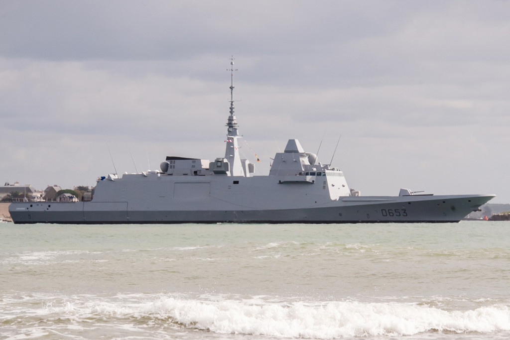 Languedoc, the French navy's third FREMM-class frigate, sails out of Lorient for its initial sea trials, which will test its propulsion and navigations systems. Six of these ships will be delivered by 2019 (DCNS photo)