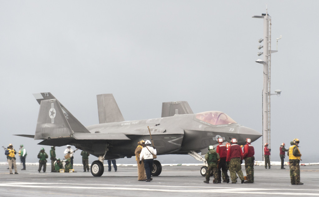 Two F-35Cs from the Salty Dogs of Air Test and Evaluation Squadron (VX) 23 are conducting follow-on developmental test (DT-II) sea trials aboard the Eisenhower (U.S. Navy photo courtesy Lockheed Martin photo by Andrew McMurtrie/Released)