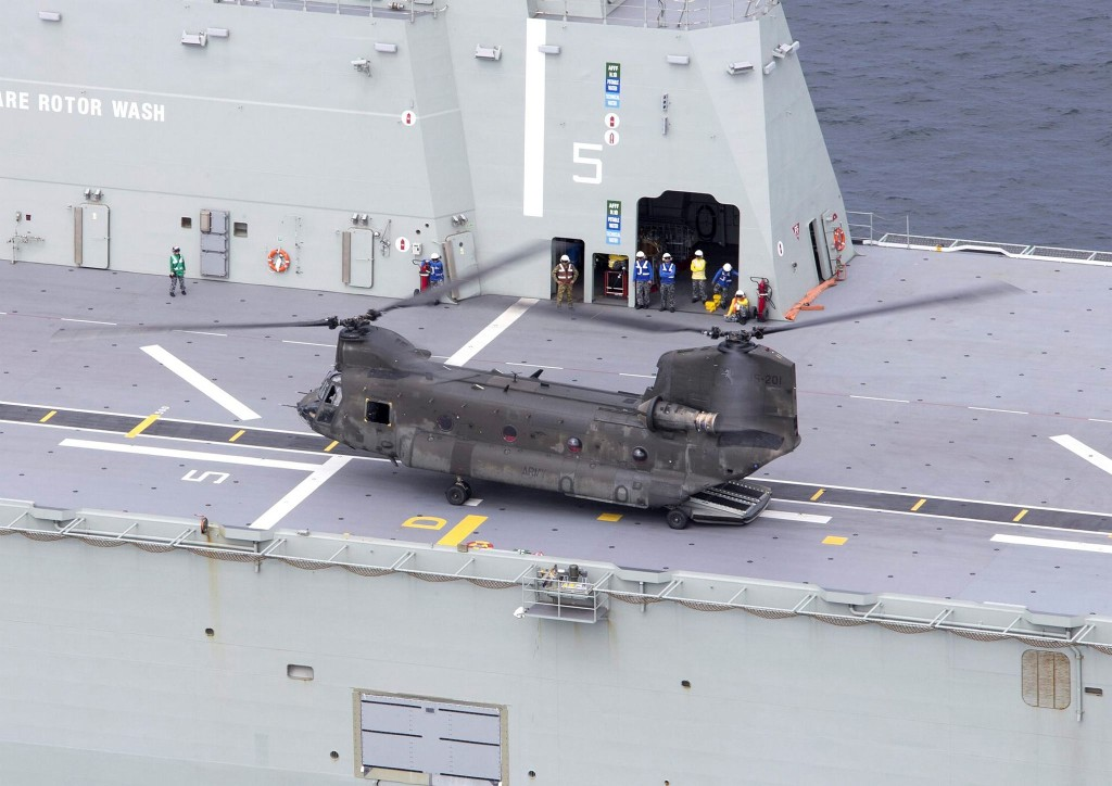 A CH-47D Chinook on the deck of HMAS Canberra during First of Class Flight Trials in Jervis Bay