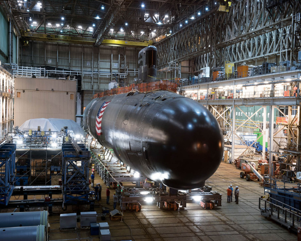 Electric Boat workers prepare submarine Illinois for rollout on July 24, 2015