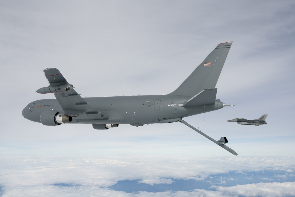 The KC-46A Pegasus deploys the centerline boom for the first time October 9, 2015. The boom is the fastest way to refuel aircraft at 1,200 gallons per minute (Boeing photo/John D. Parker)