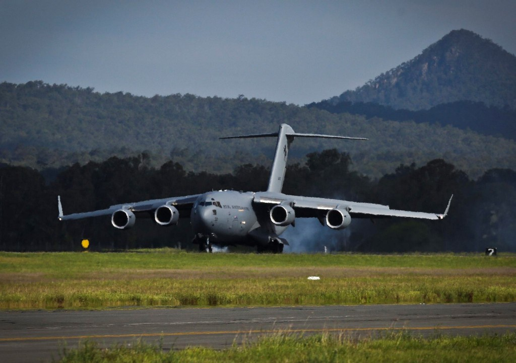 The RAAF's eighth C-17A Globemaster touches down at RAAF Base Amberley