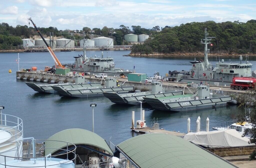 The Royal Australian Navy's first four LCM-1E landing craft for the LHD have arrived at their new home HMAS Waterhen in Sydney