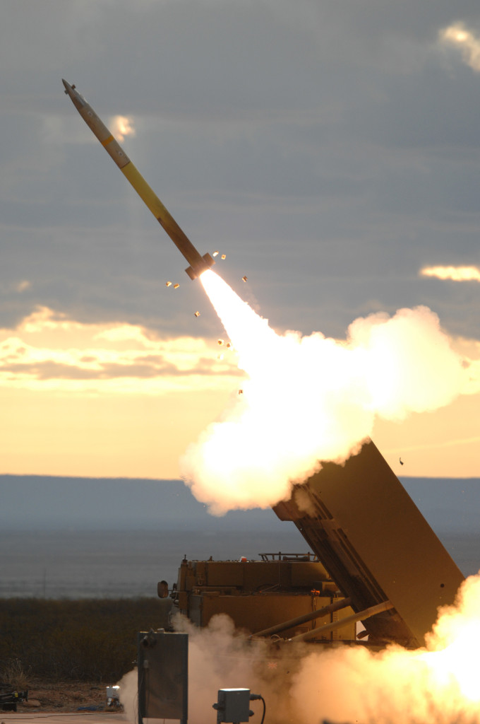 The Integration software of the upgraded M20B1 UK launcher fires its first GMLRS rocket at the White Sand Missile Range in New Mexico. GMLRS and M270B1 are now deployed in theater in support of UK ground forces and complement their US counterparts (Photo by Lockheed Martin)