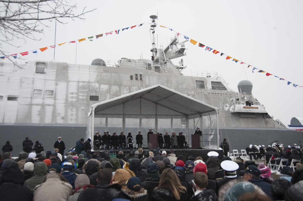 Vice Chief of Naval Operations (VCNO) Admiral Michelle Howard speaks during the commissioning of USS Milwaukee (LCS-5)