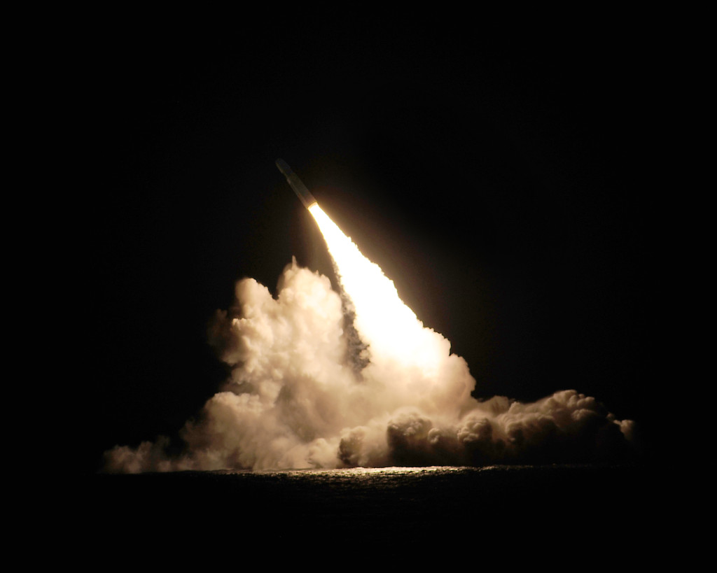 The U.S. Navy tested two Trident II D5 fleet ballistic missiles November 7 and 9 in the Pacific Ocean. One of the missiles is shown here shortly after its launch from a submerged submarine (Photo: U.S. Navy)