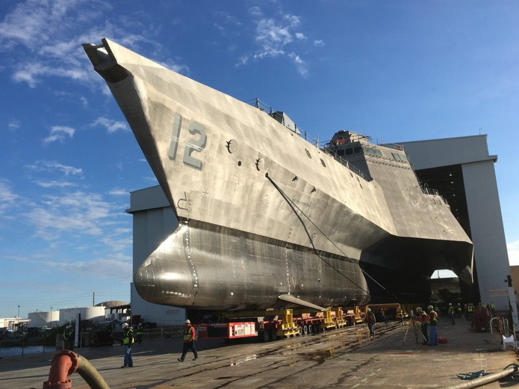 Launch of USS Omaha (LCS 12) at Austal USA facility - Mobile, Alabama