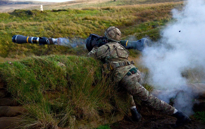 A Royal Marine fires an NLAW during an exercise. Together with the heavier Javelin missile, NLAW is the Royal Marines' primary anti-tank weapon (RN photo)