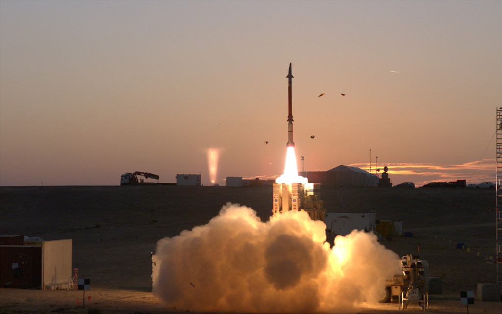 A David Sling system launches a Stunner missile in an image released by the Israeli MoD when it announced that the system had successfully completed a series of live-fire tests