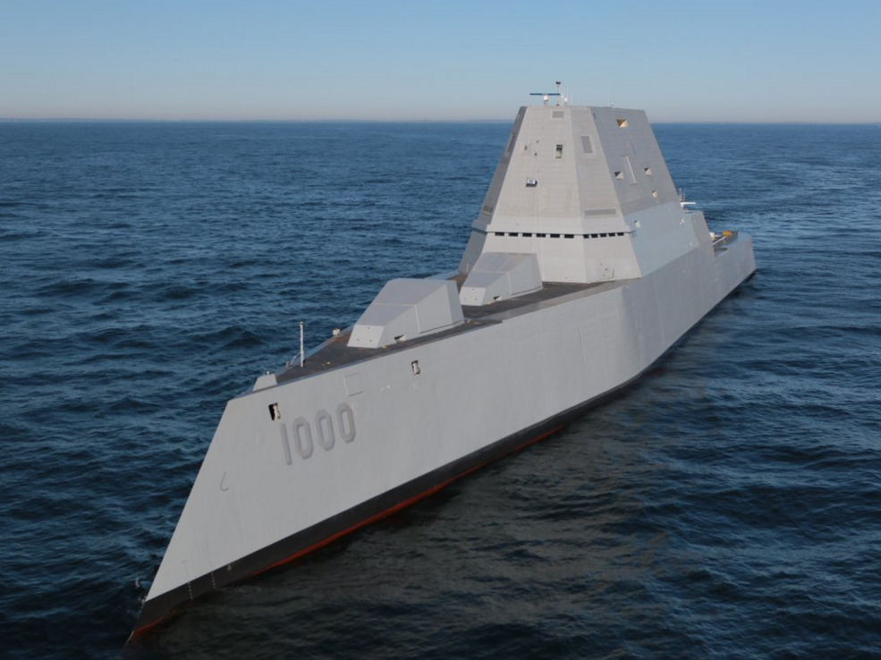 The 16,000-ton destroyer is equipped with two high power Rolls Royce MT-30 gas turbines and two smaller Rolls-Royce RR450 gas turbines