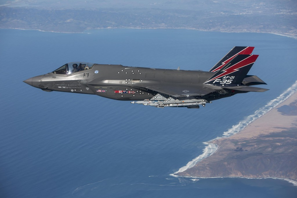 AF-1, of the 461st Flight Test Squadron at Edwards Air Force Base, California, became the first F-35 to fire the AIM-9X missile January 12, 2016 (Lockheed Martin photo/Chad Bellay)