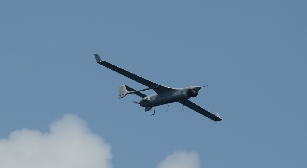 An RQ-21A Blackjack in flight during testing aboard USS Mesa Verde (LPD-19) in 2015. The Marines will deploy with the unmanned air system for its first shipboard deployment in summer 2016 (U.S. Navy photo)