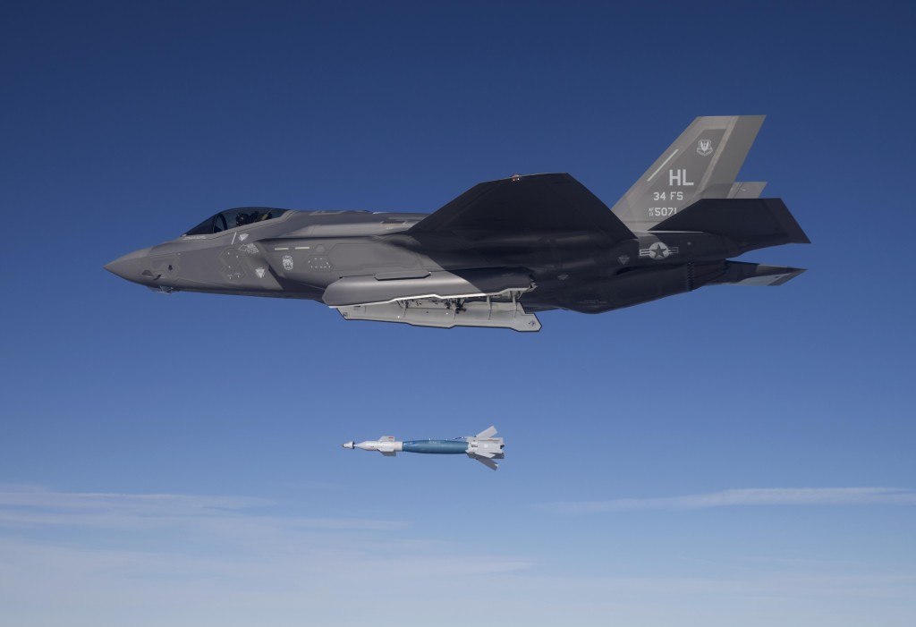 Lt. Col. George Watkins, the 34th Fighter Squadron commander, drops a GBU-12 laser-guided bomb from an F-35A Lightning II at the Utah Test and Training Range February 25. The 34th FS is the Air Force's first combat unit to employ munitions from the F-35A (U.S. Air Force photo/Jim Haseltine)
