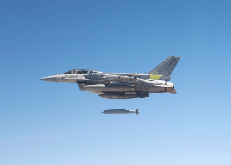 In this file photo, an F-16 fighter launches a JSOW glide bomb (Raytheon photo)