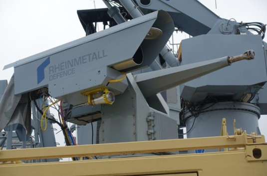 For the trials, Rheinmetall's HEL effector is mounted on the MLG 27 light naval gun mount (Rheinmetall photo)
