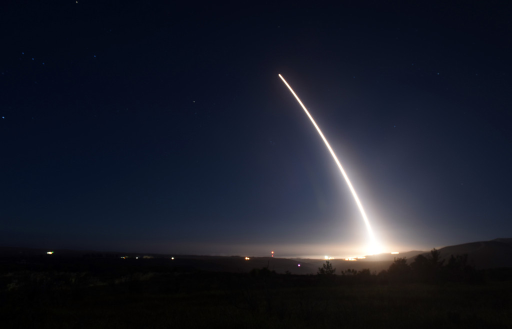 An unarmed Minuteman III intercontinental ballistic missile launches during an operational test at 11:34 p.m. PST February 20, 2016, Vandenberg Air Force Base, California (U.S. Air Force Photo by Senior Airman Kyla Gifford/Released)