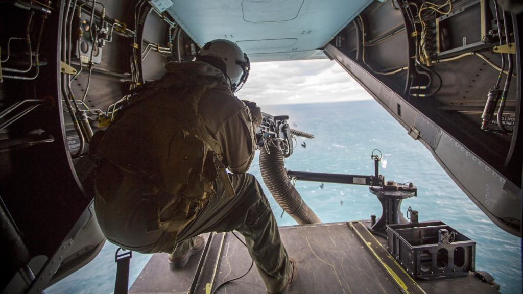 Lance Cpl. Jarod L. Smith, a crew chief with Marine Medium Tiltrotor Squadron 365, fires a mounted M2 Browning .50-caliber machine gun from the back of the MV-22B Osprey
