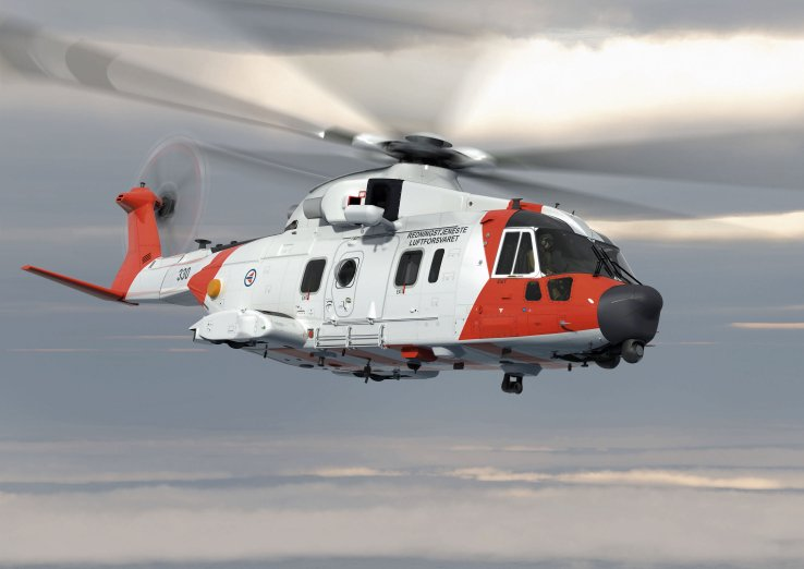 Artist's rendering of an AgustaWestland AW101 in Royal Norwegian Air Force search-and-rescue markings