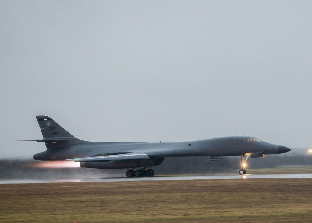 A 9th Bomb Squadron B-1B Lancer at Dyess Air Force Base, Texas, begins its 15-hour flight to the Alaskan Yukon Range February 23, 2016, during a B-1 Combat Mission Effectiveness Exercise (U.S. Air Force photo by Airman 1st Class Austin Mayfield/Released)