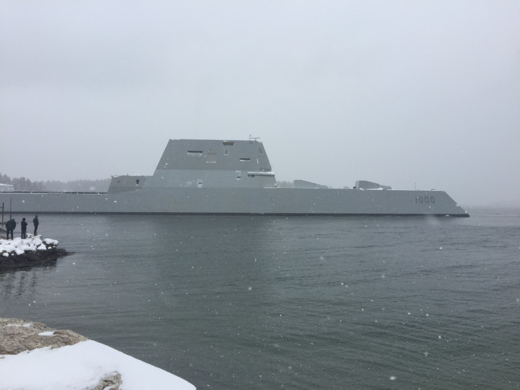 Zumwalt (DDG 1000) returned to Bath, Maine, after successfully conducting four days of at-sea builder's Trials on March 25 (U.S. Navy Photo)