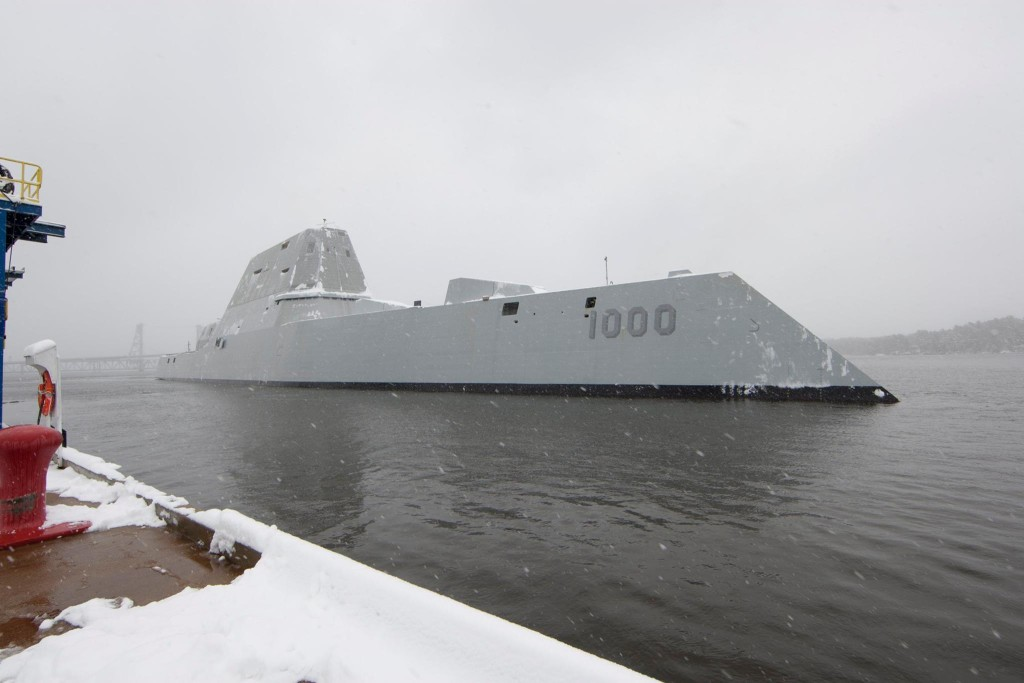 USS Zumwalt (DDG-1000) departs the Bath Iron Works shipyard for its second at-sea period to conduct builder's trials on March 21 (U.S. Navy Photo)