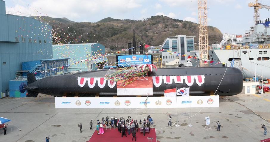 The Indonesian Navy's first Type 209/1400 submarine, pictured at its launching ceremony on 24 March in Okpo (Source: DSME)