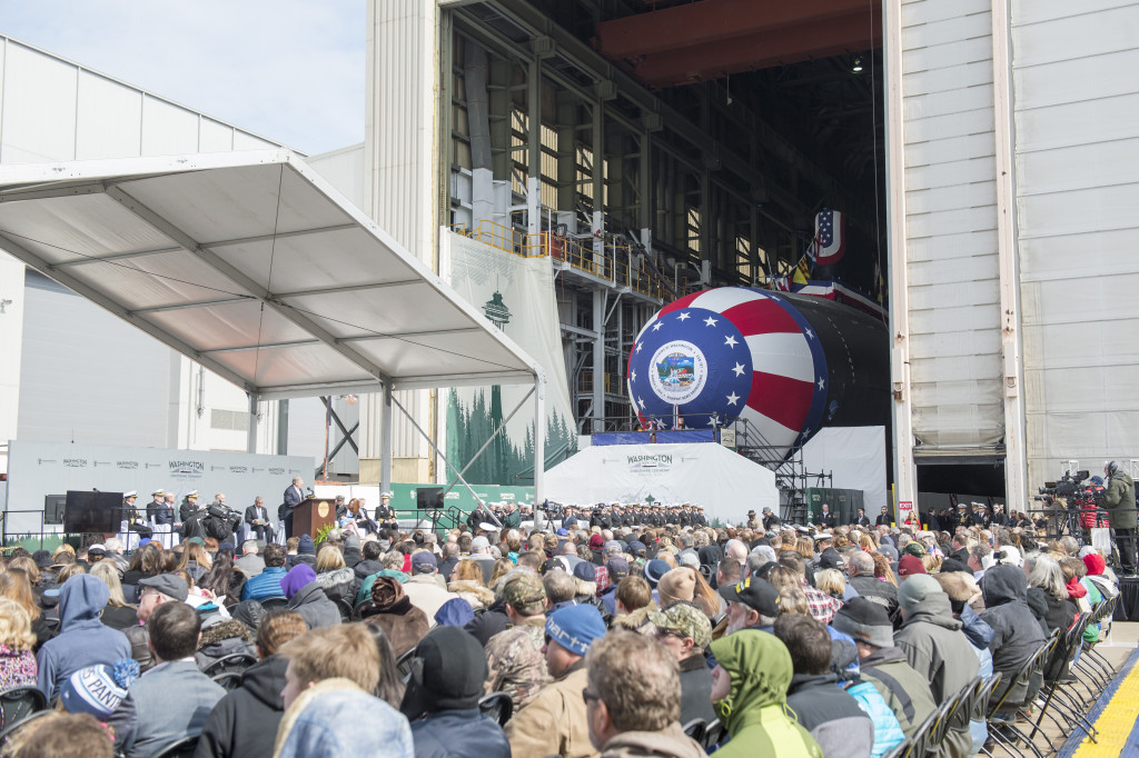 About 2,000 people attended the christening of the Virginia-class submarine Washington (Photo by Ricky Thompson/HII)
