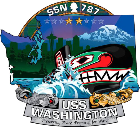 The ship's crest of the Virginia-class attack submarine USS Washington (U.S. Navy graphic/Released)