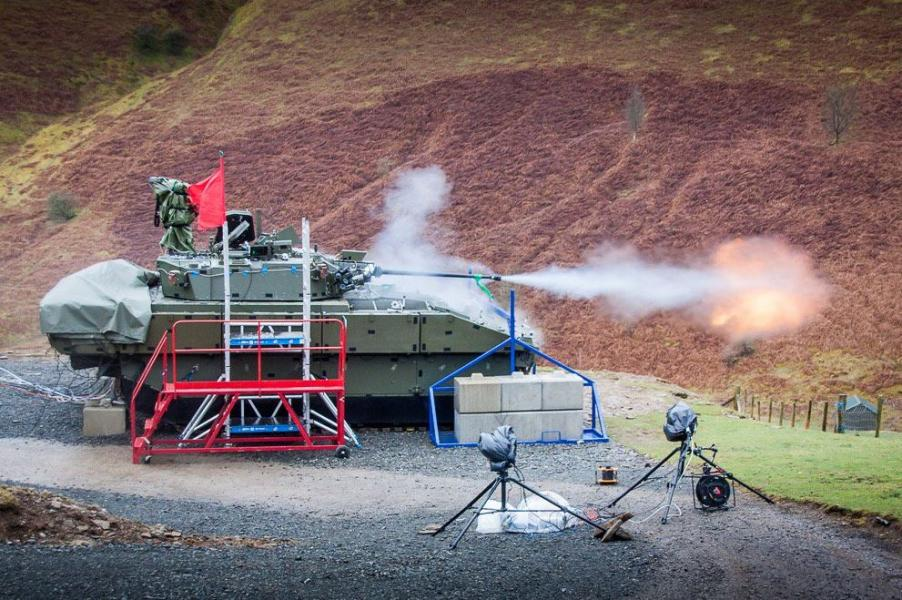 An Ajax armored fighting vehicle developed by General Dynamics for the British Army recently carried out the first live firing trial of its automatic 40-mm gun (GD UK photo)