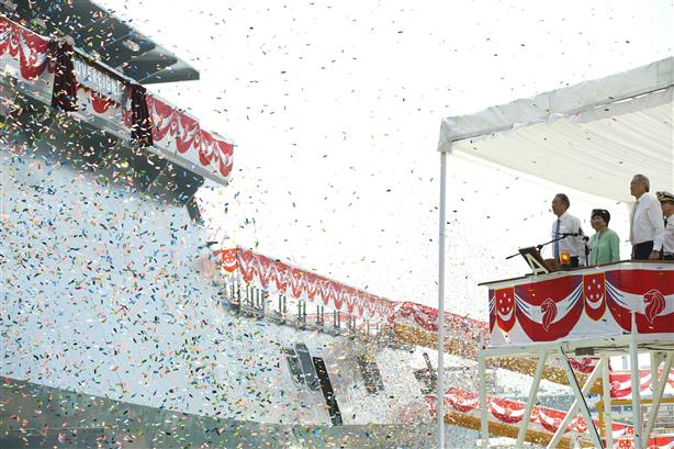 The launching of the second Littoral Mission Vessel – RSS Sovereignty, built by ST Marine for the Republic of Singapore Navy