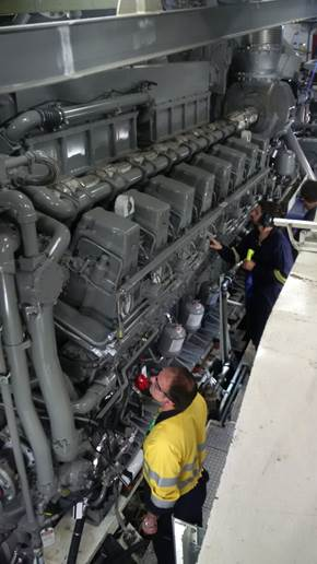 The main propulsion engines were made by Navantia in Spain and transported to Australia by barge