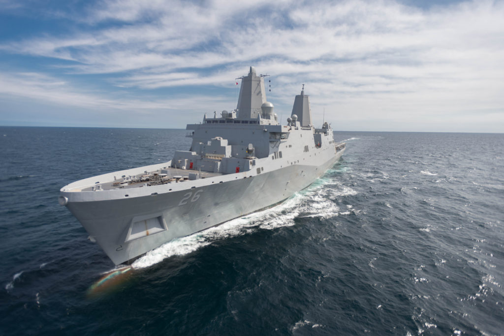 Ingalls Shipbuilding's 10th San Antonio-class amphibious transport dock, USS John P. Murtha (LPD-26), successfully completed acceptance sea trials. The ship spent six days in the Gulf of Mexico with the test and trials team, performing more than 200 trial events that included both an in-port and underway portion (Photo by Lance Davis/HII)