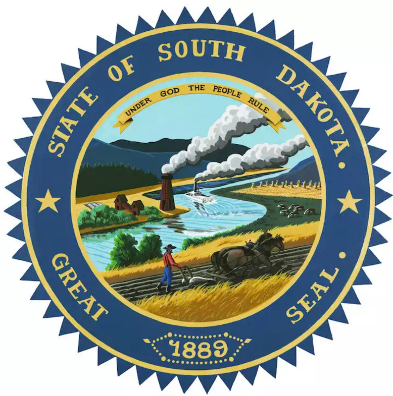 The emblem of the South Dakota