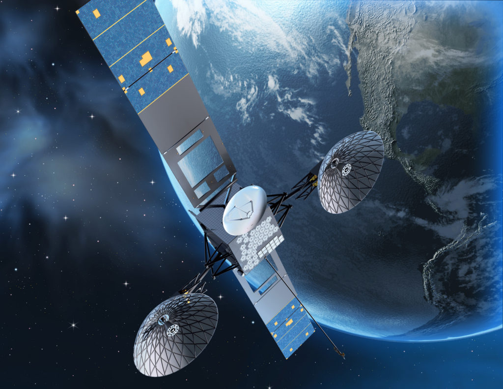An artist's rendering depicts the third generation Tracking and Data Relay Satellite. Boeing has built six TDRS satellites for NASA (NASA illustration)
