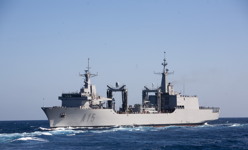 SPS Cantabria (A15) has a maximum sustained speed of 20 knots/23 mph/37 km/h and a range of 6,000 nautical miles/6,900 miles/11,000 km; the ship's complement is 122