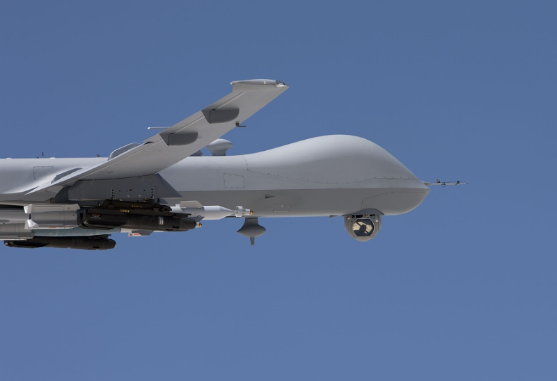The U.S. Air Force has awarded Raytheon a first-lot production contract for the AN/DAS-4 Electro-Optical/Infrared (EO/IR) Turret, shown here deployed on the MQ-9 Reaper (PRNewsFoto/Raytheon Company)