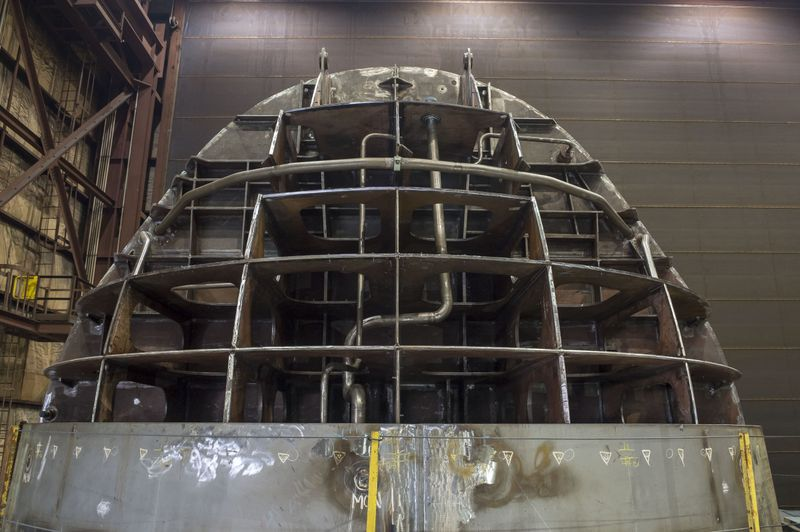 The bow unit of Virginia-class submarine Delaware (SSN-791) stands upright in one of Newport News Shipbuilding's submarine facilities (Photo by Chris Oxley)